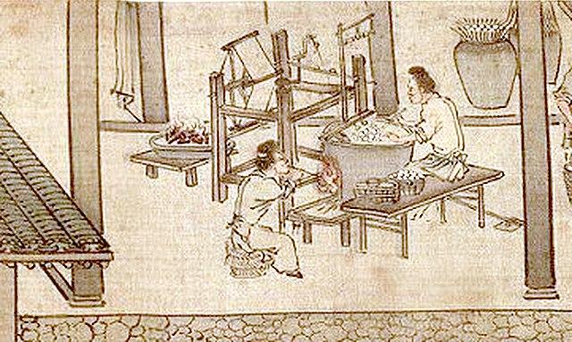 Замачивание коконов и наматывание шелка